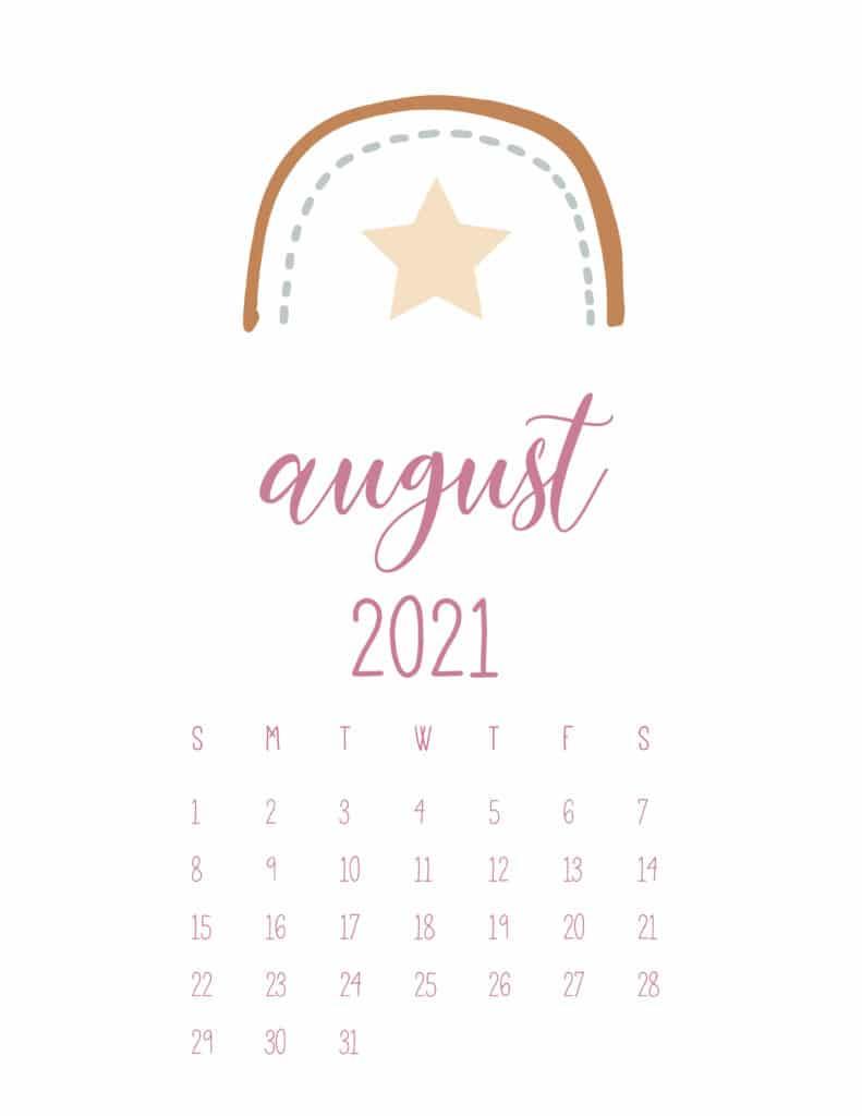 Free August 2021 Rainbows Calendar