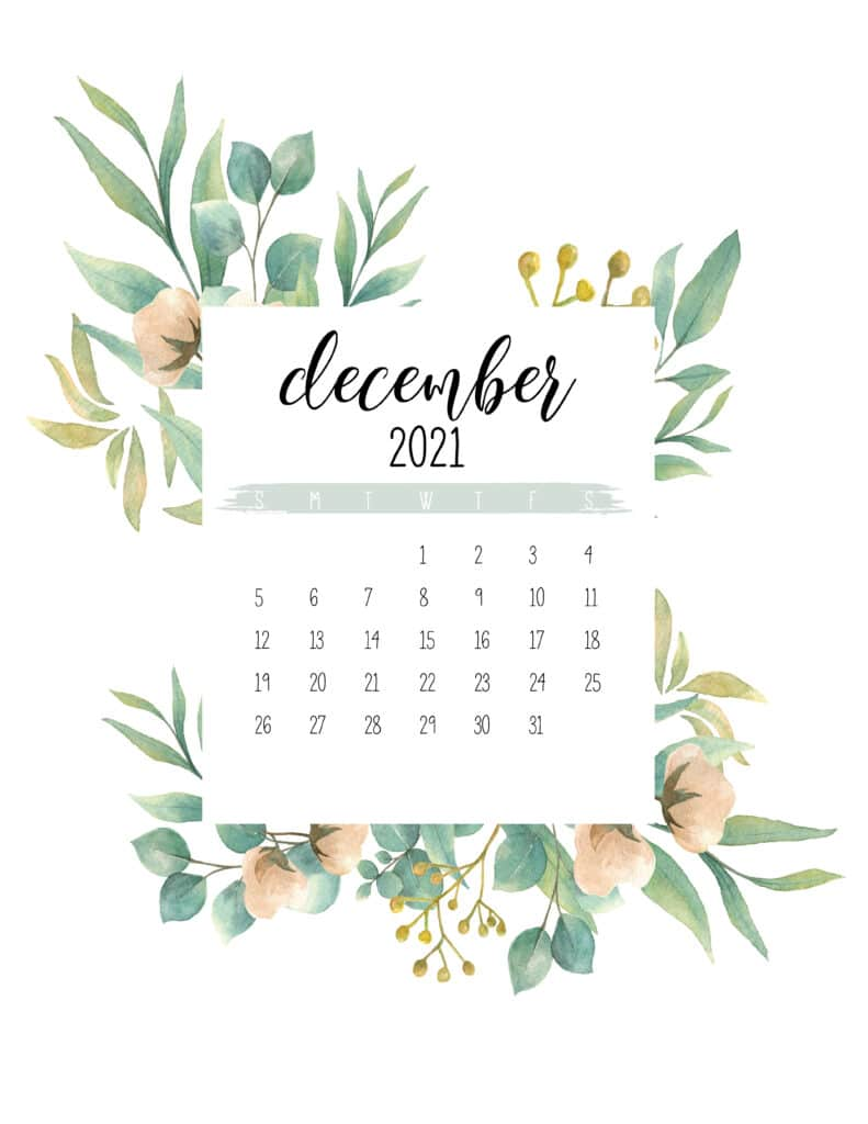 Free December 2021 Botanical Calendar