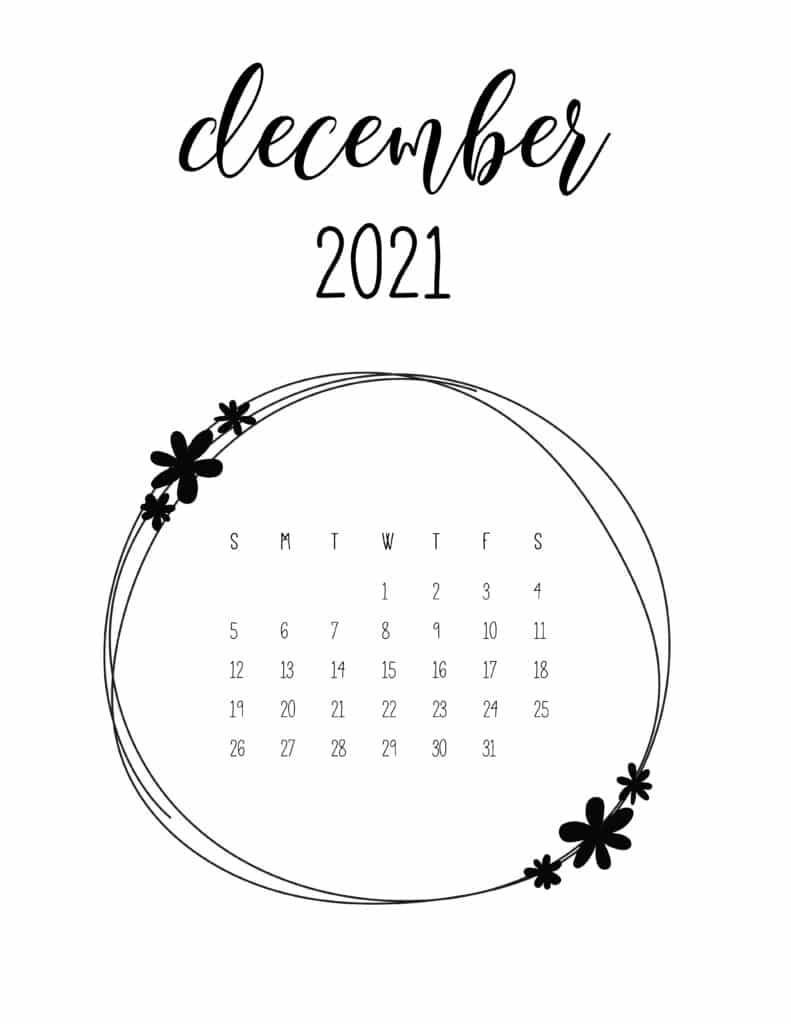 Free December 2021 Floral Frame Calendar