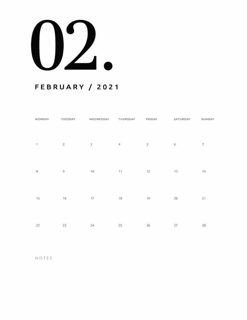 Free February 2021 Calendar Numerical