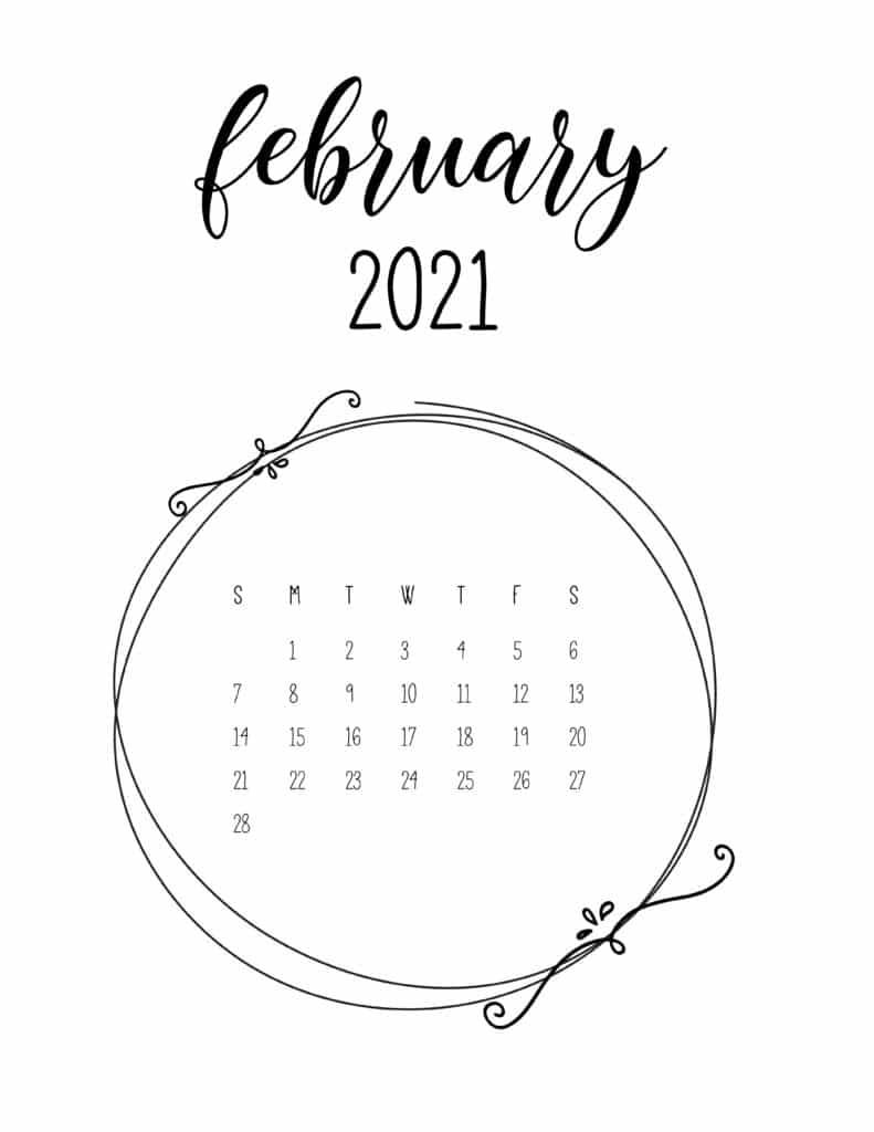 Free February 2021 Floral Frame Calendar