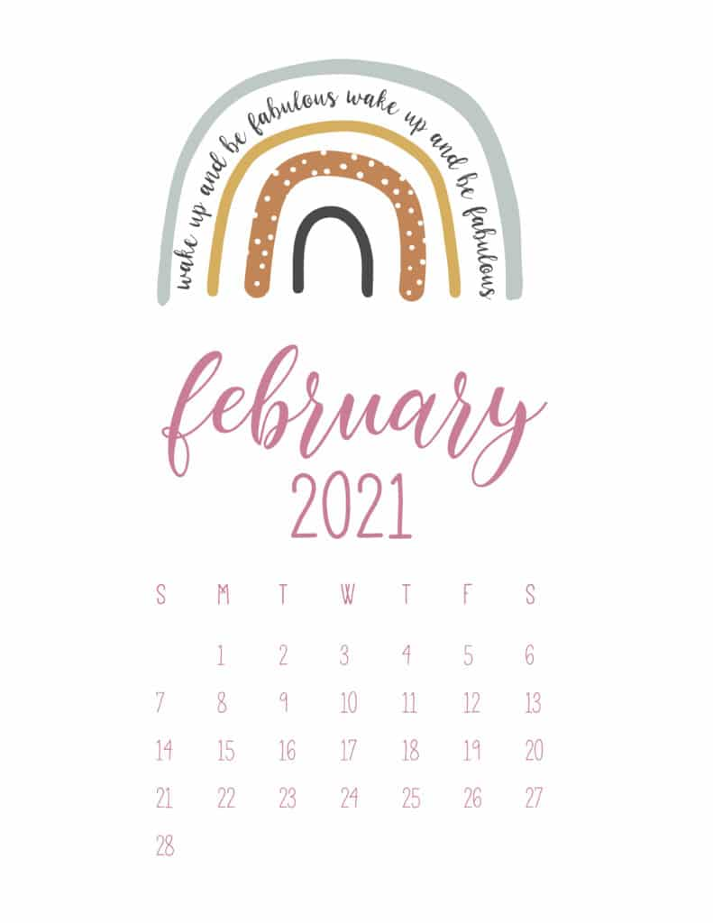 Free February 2021 Rainbows Calendar