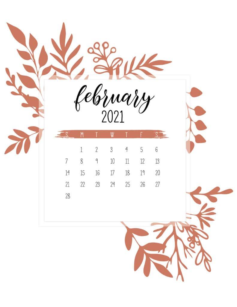 Free February Calendar 2021 Printable