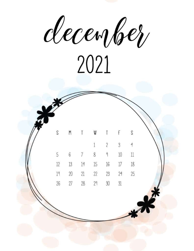 Free Floral Frame December 2021 Calendar
