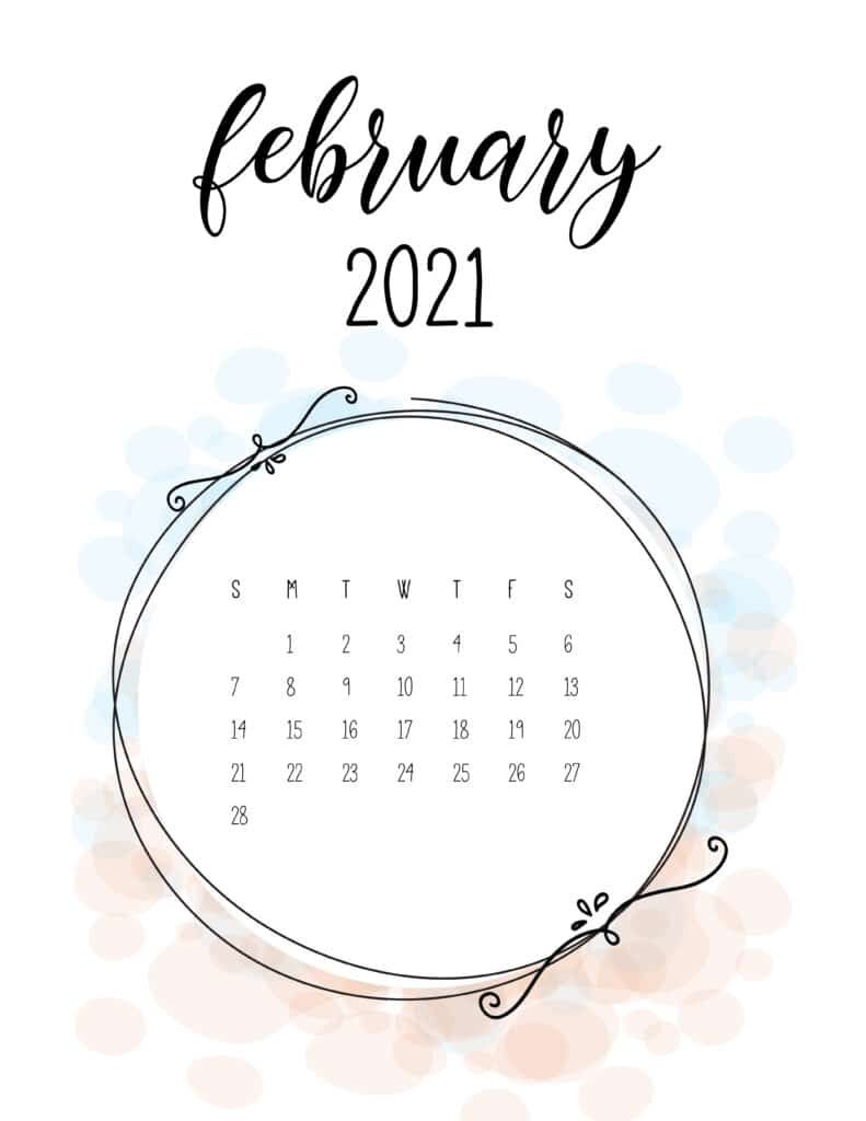 Free Floral Frame February 2021 Calendar