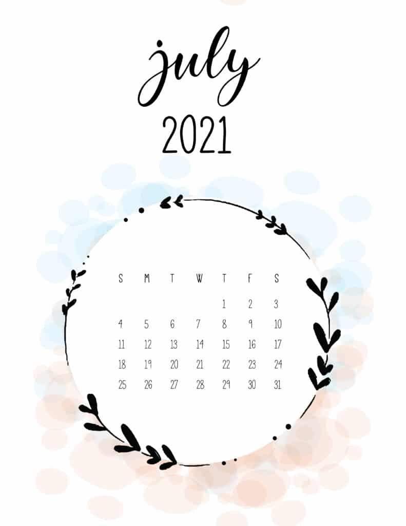 Free Floral Frame July 2021 Calendar