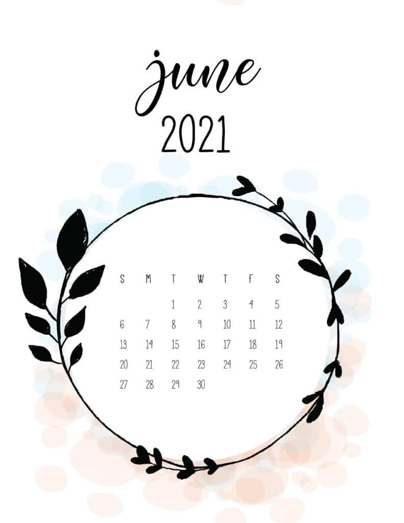 Free Floral Frame June 2021 Calendar