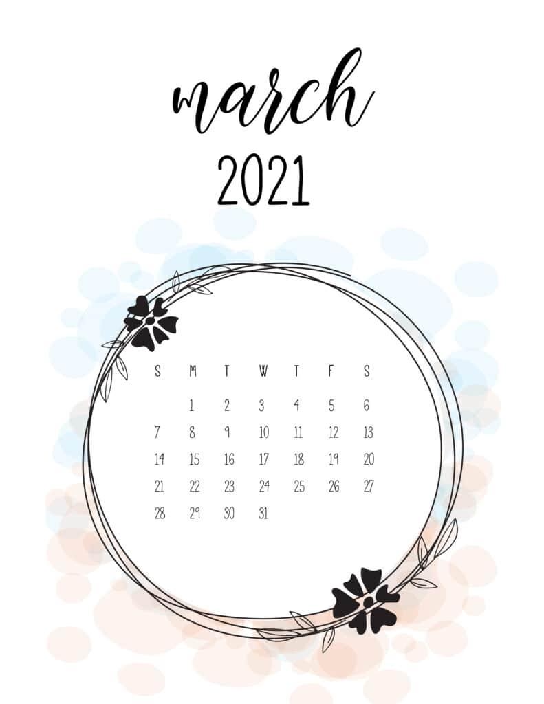 Free Floral Frame March 2021 Calendar