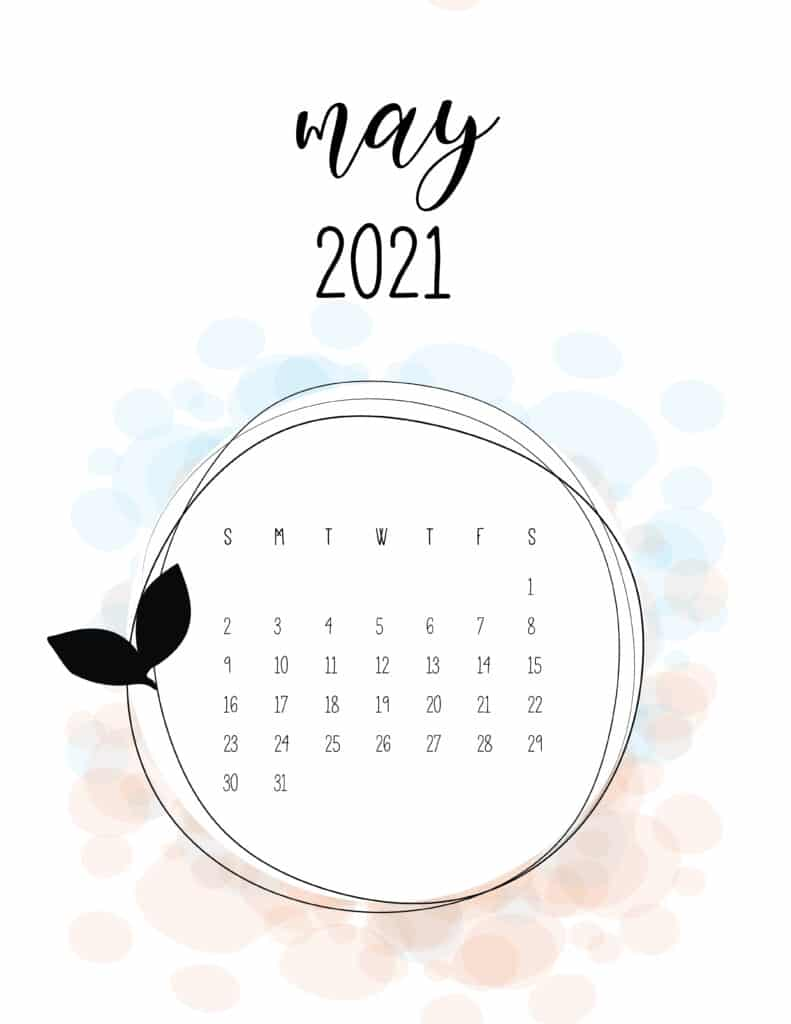 Free Floral Frame May 2021 Calendar