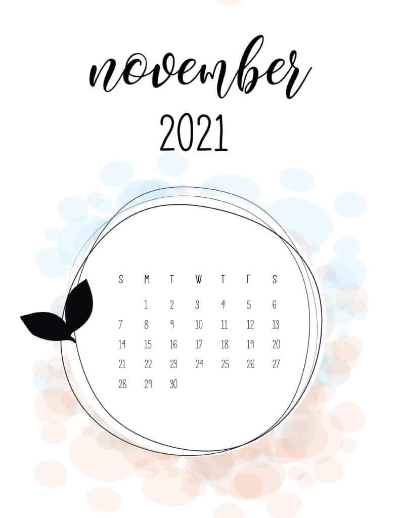 Free Floral Frame November 2021 Calendar