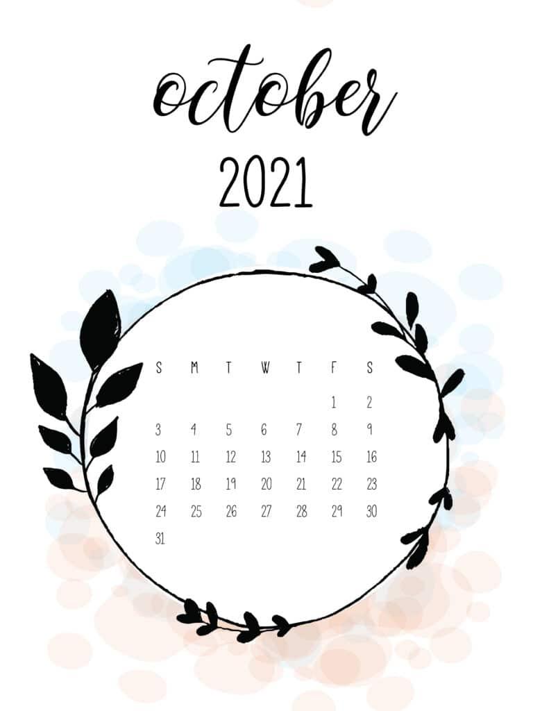 Free Floral Frame October 2021 Calendar