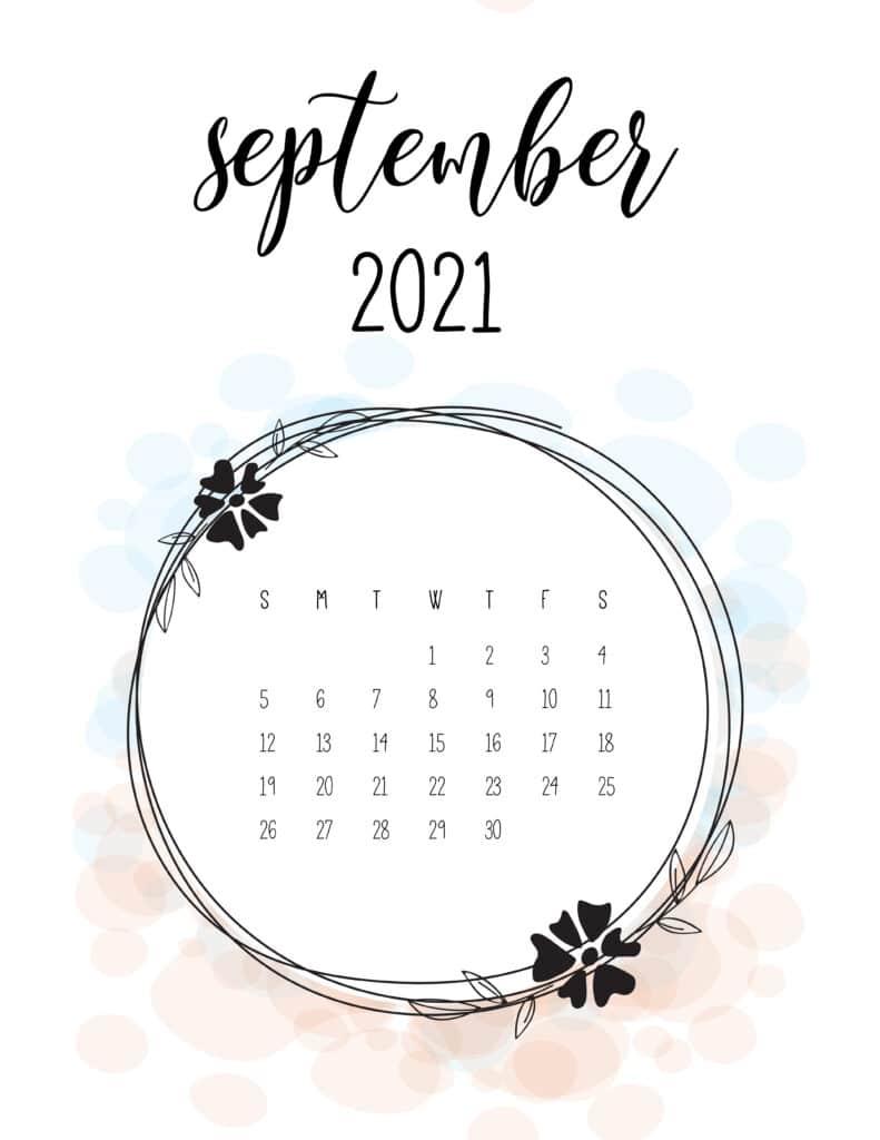 Free Floral Frame September 2021 Calendar
