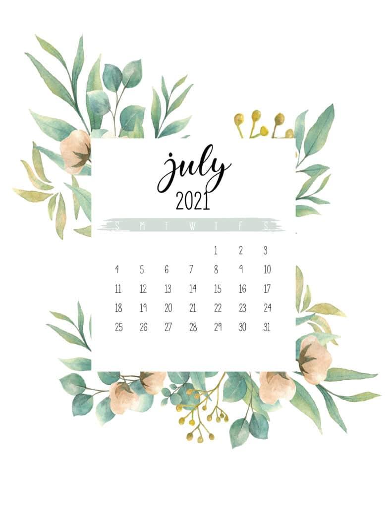 Free July 2021 Botanical Calendar