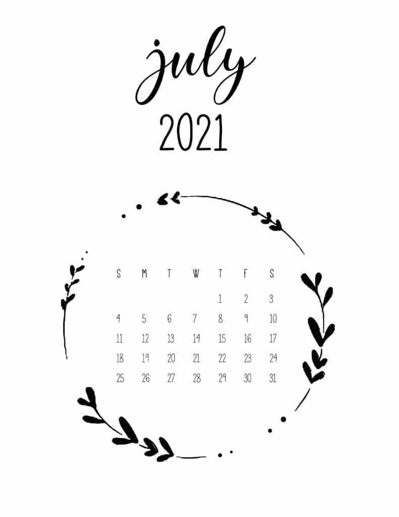 Free July 2021 Floral Frame Calendar