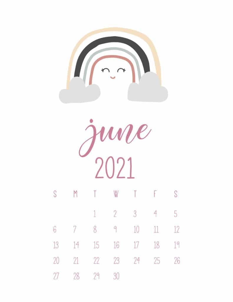 Free June 2021 Rainbows Calendar