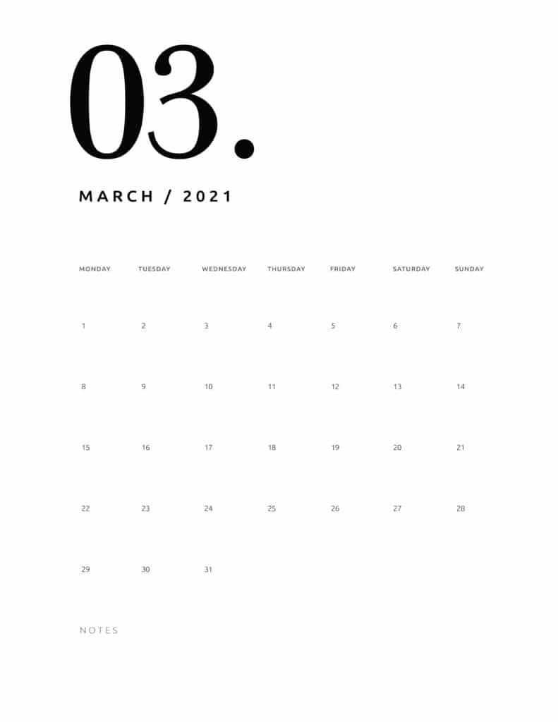 Free March 2021 Calendar Numerical