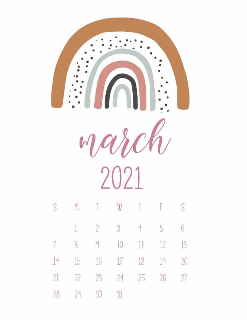 Free March 2021 Rainbows Calendar