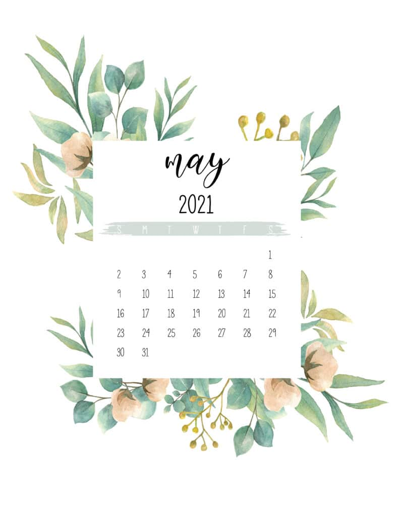 Free May 2021 Botanical Calendar