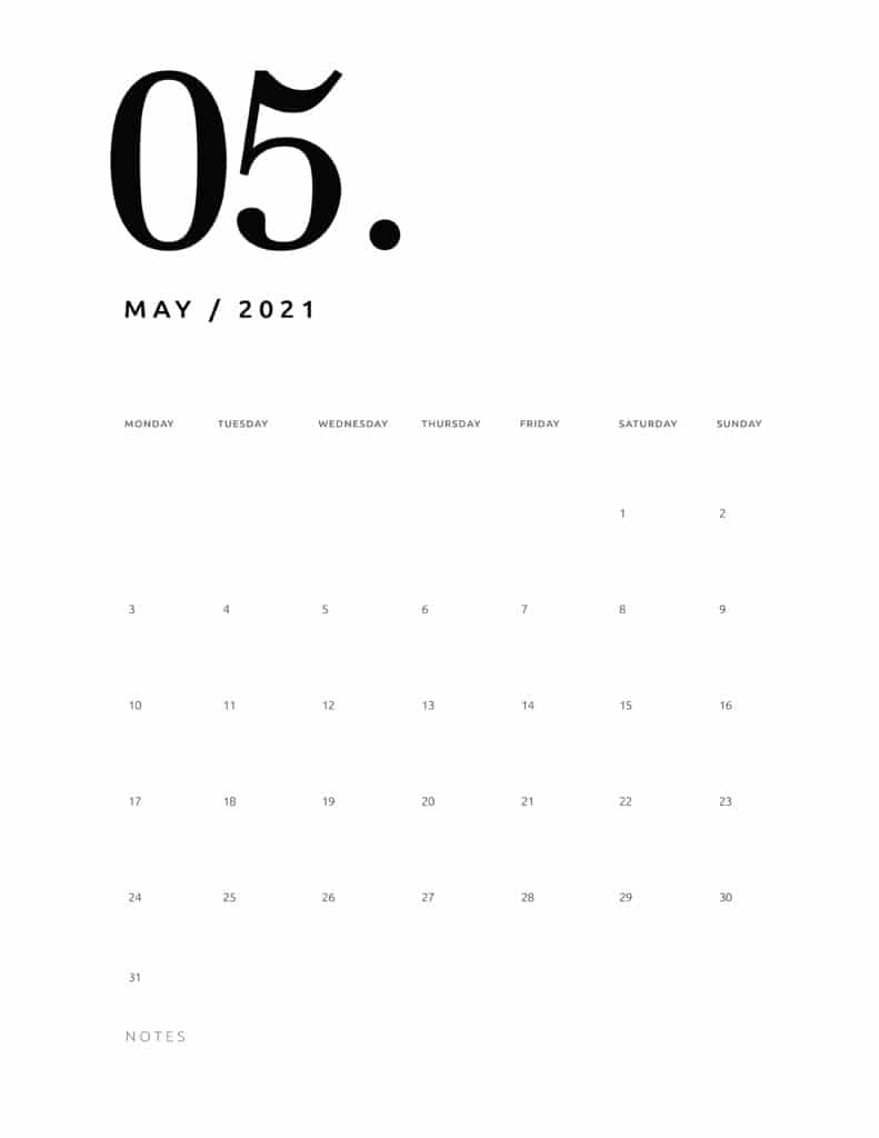 Free May 2021 Calendar Numerical