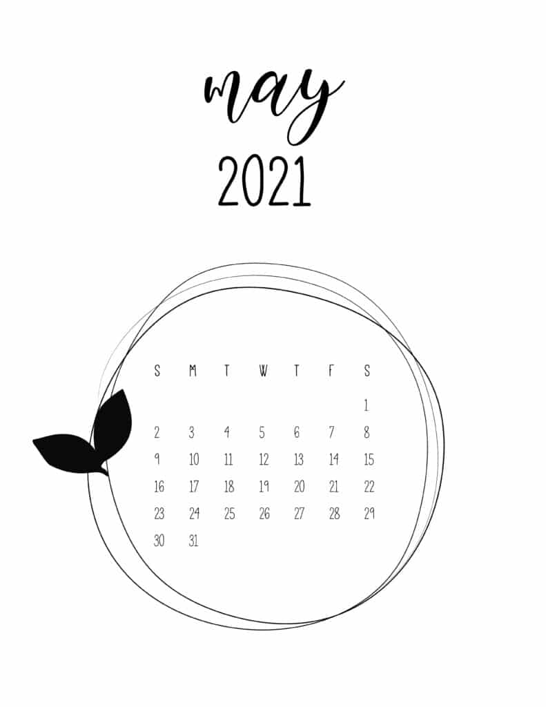 Free May 2021 Floral Frame Calendar