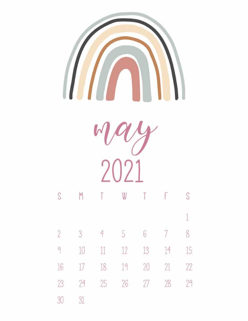 Free May 2021 Rainbows Calendar
