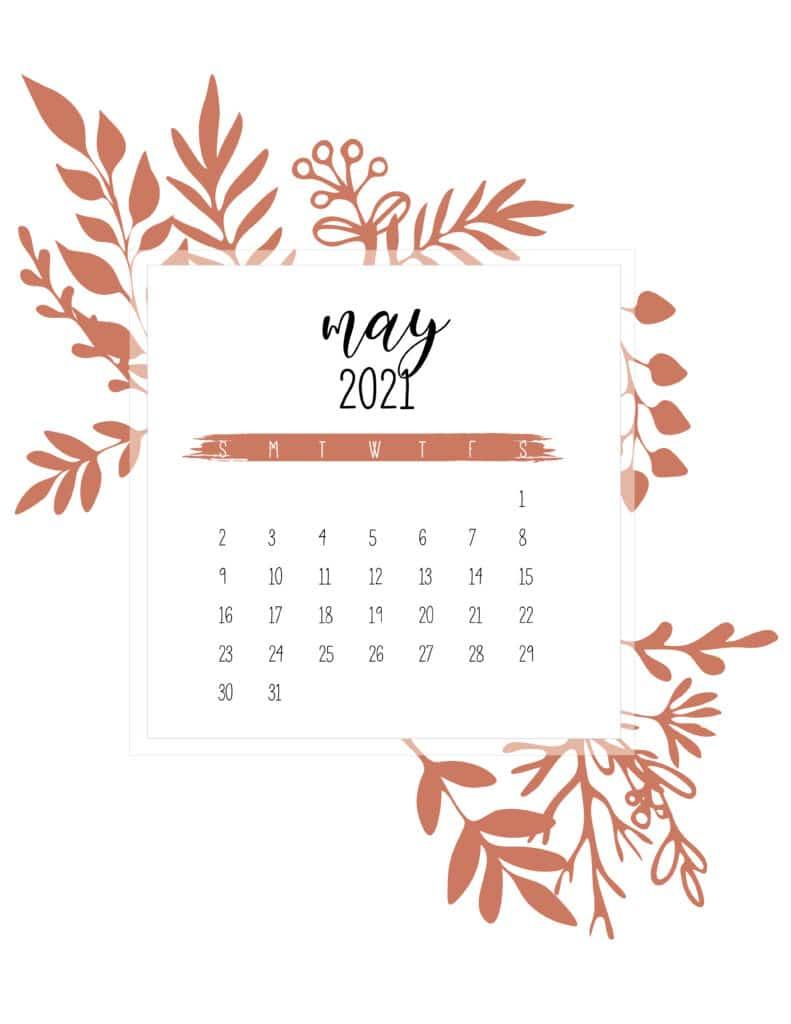Free May Calendar 2021 Printable