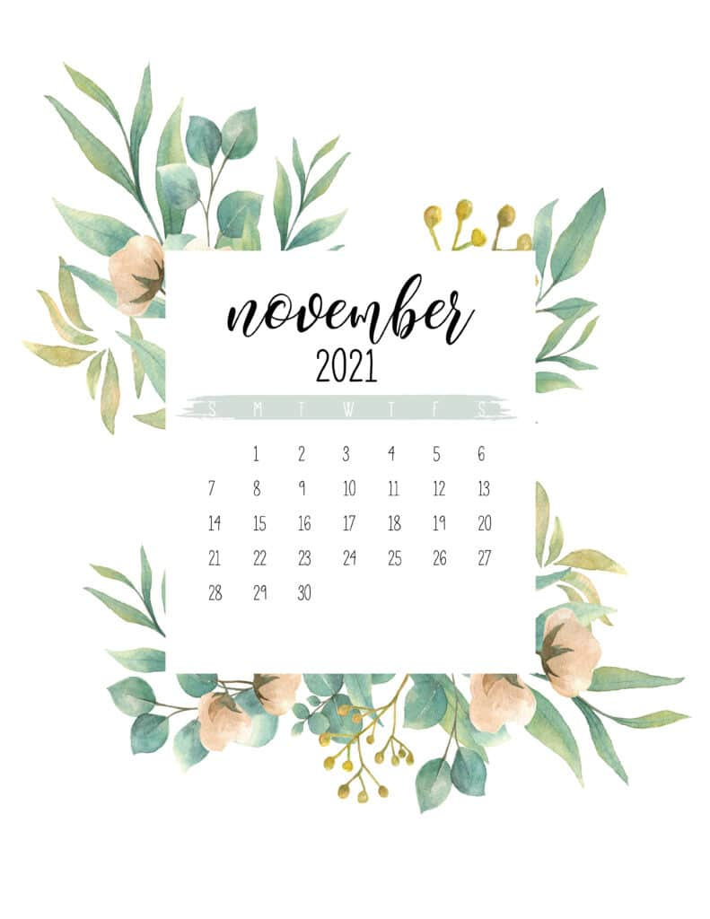 Free November 2021 Botanical Calendar