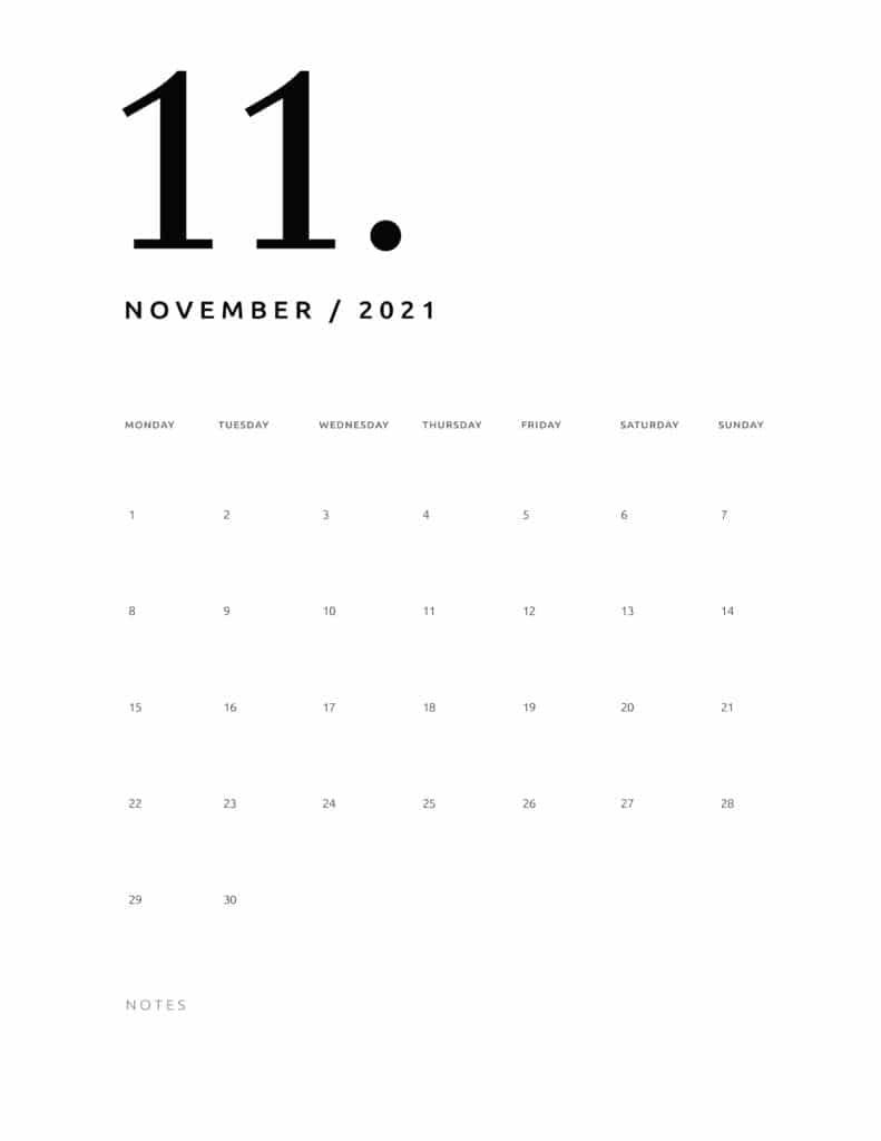 Free November 2021 Calendar Numerical