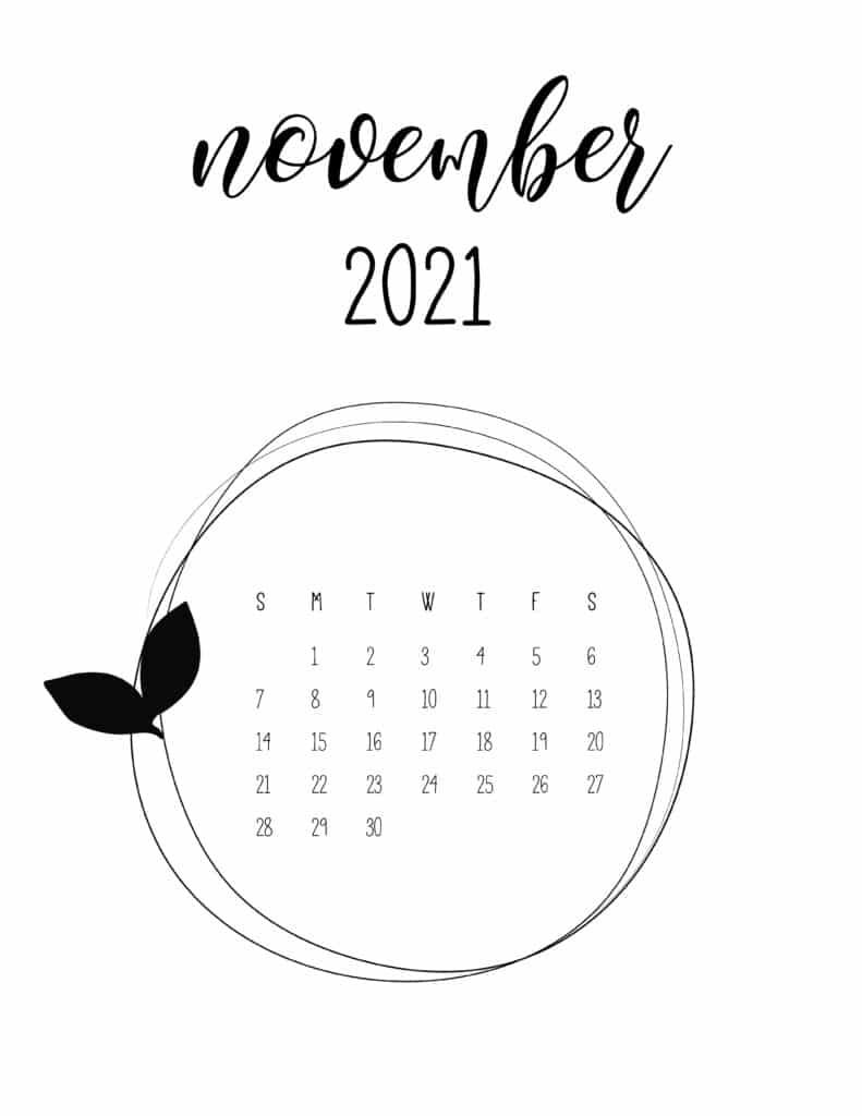 Free November 2021 Floral Frame Calendar