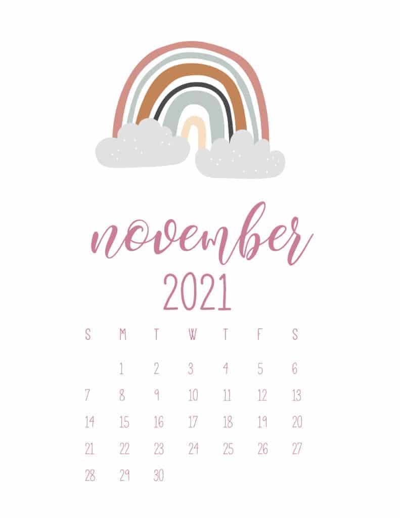 Free November 2021 Rainbows Calendar
