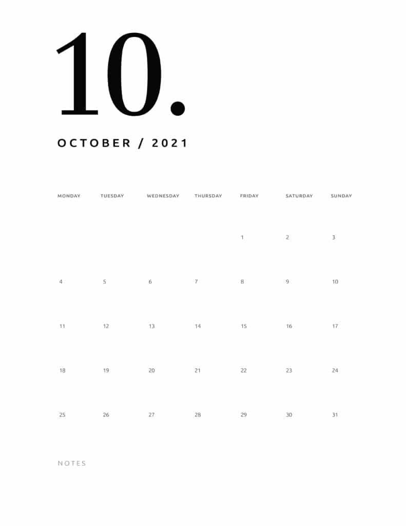 Free October 2021 Calendar Numerical