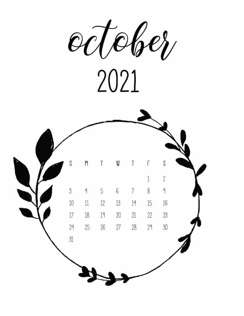 Free October 2021 Floral Frame Calendar