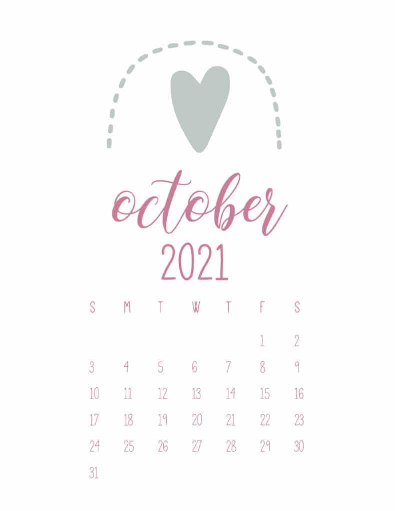 Free October 2021 Rainbows Calendar