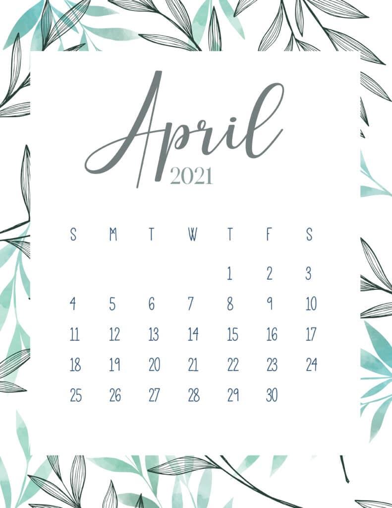 Free Printable April 2021 Botanical Calendar