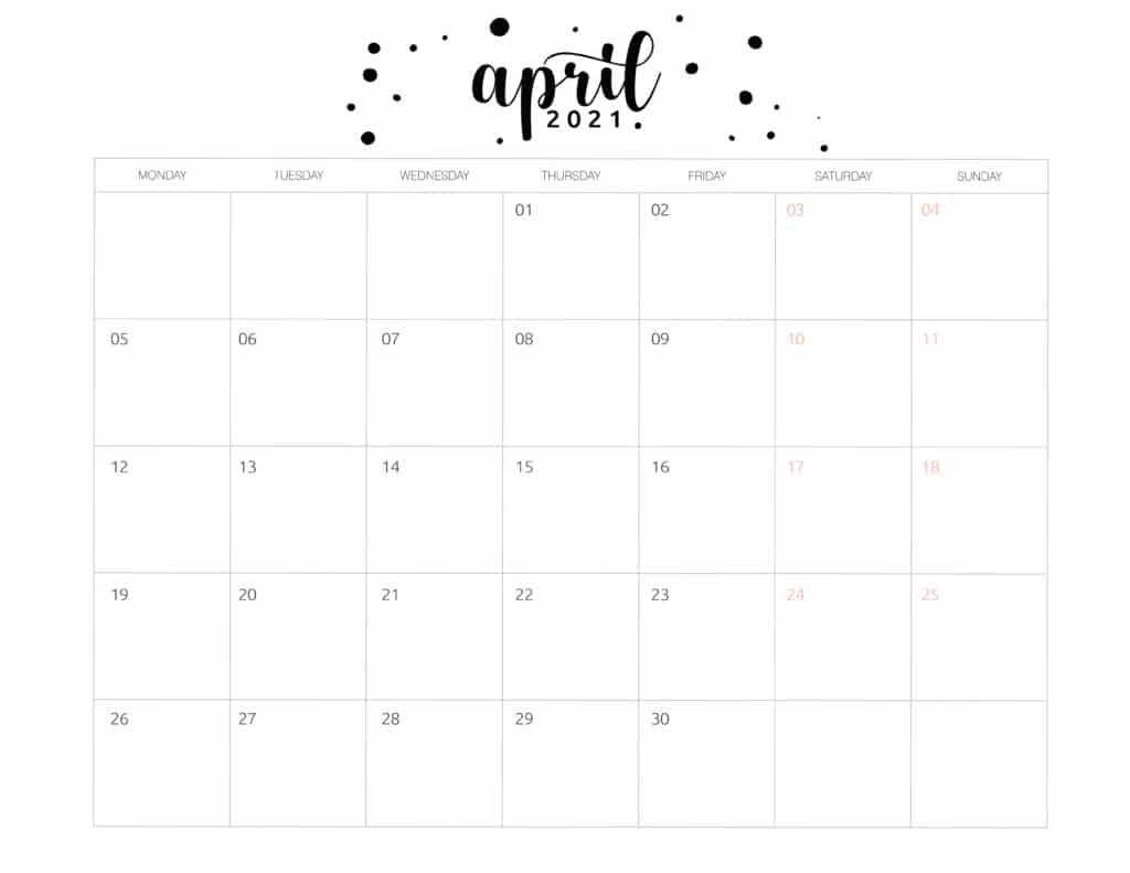 Free Printable April 2021 Calendar Brush Art