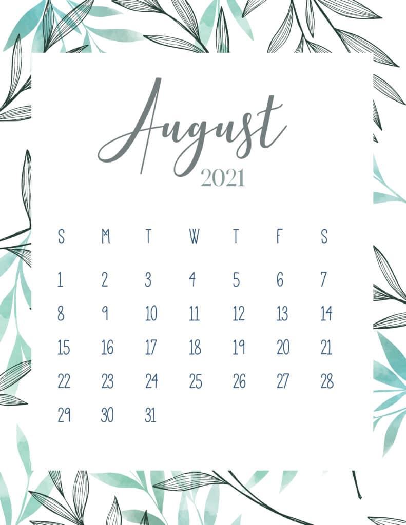 Free Printable August 2021 Botanical Calendar