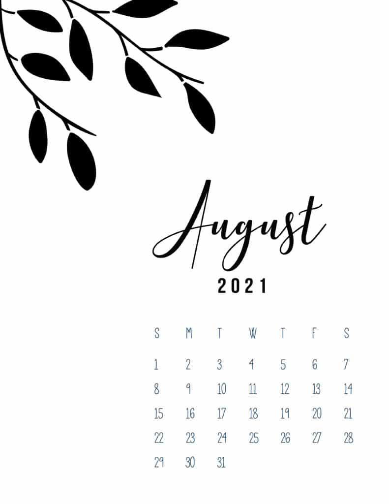 Free Printable August 2021 Calendar Botanical