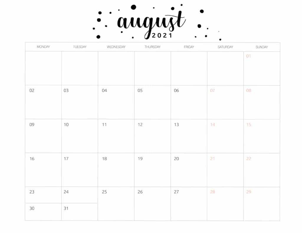 Free Printable August 2021 Calendar Brush Art