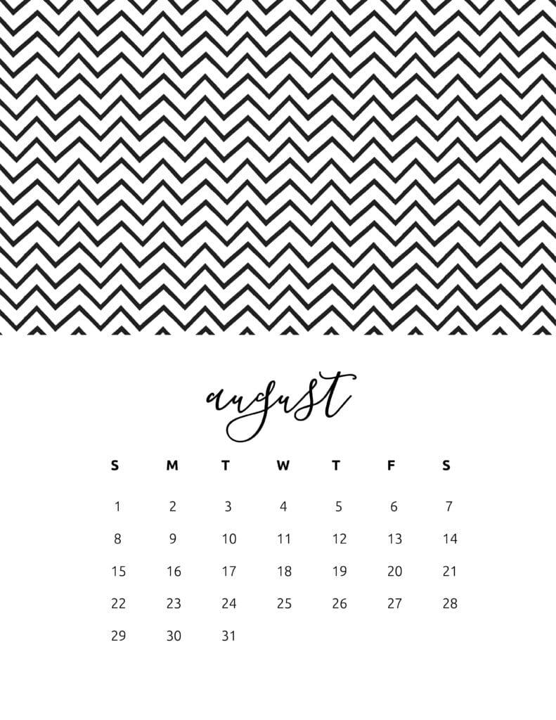 Free Printable August 2021 Calendar Patterns