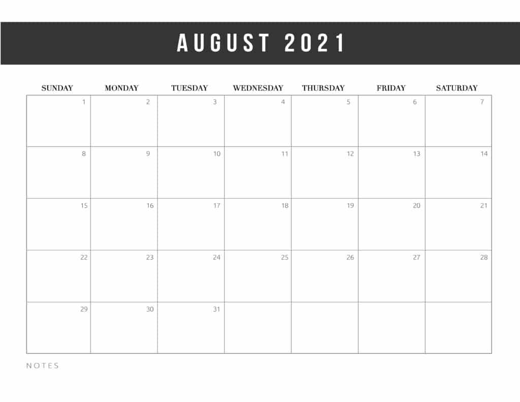 Free Printable August 2021 Calendar Template
