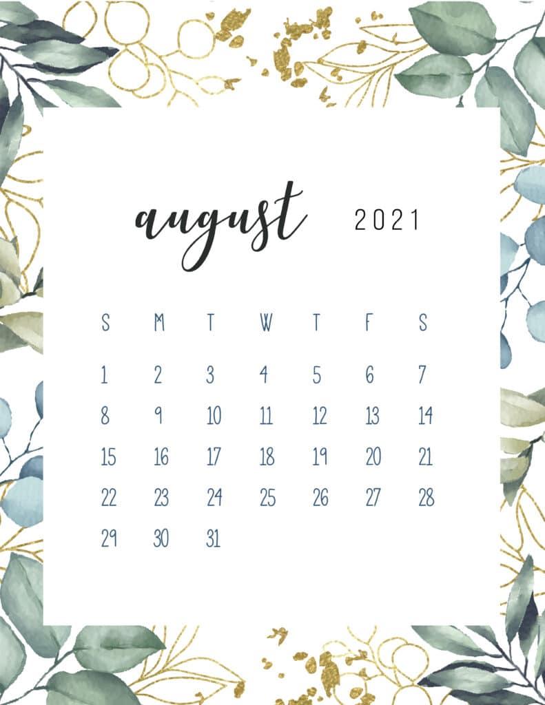 Free Printable August Calendar 2021 Botanical