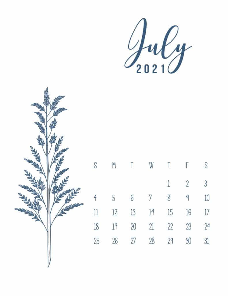 Free Printable Calendar July 2021 Floral