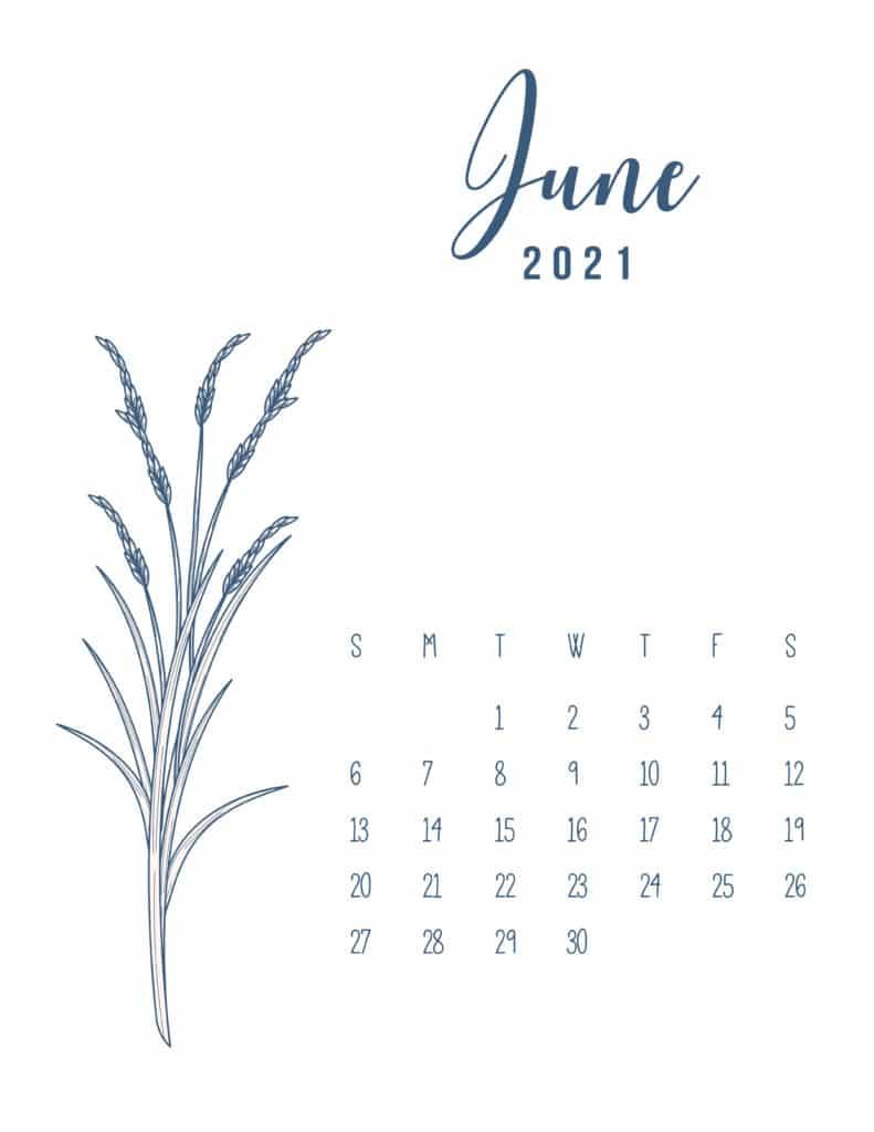 Free Printable Calendar June 2021 Floral