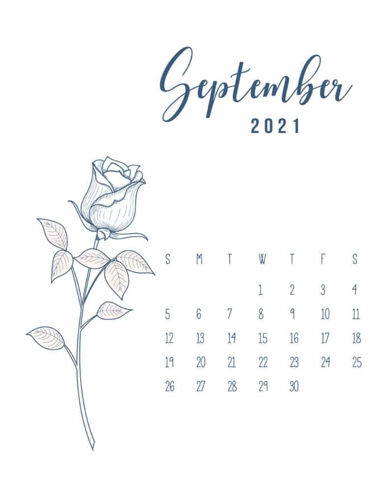 Free Printable Calendar September 2021 Floral