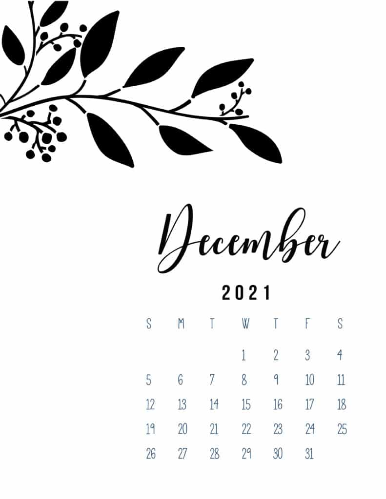 Free Printable December 2021 Calendar Botanical
