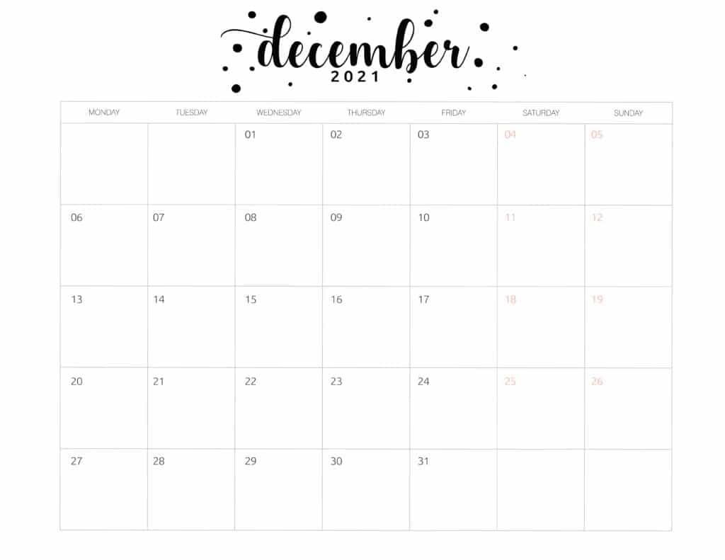 Free Printable December 2021 Calendar Brush Art