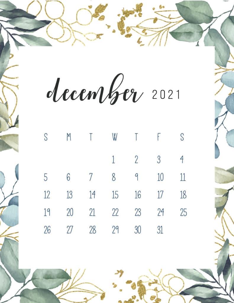 Free Printable December Calendar 2021 Botanical