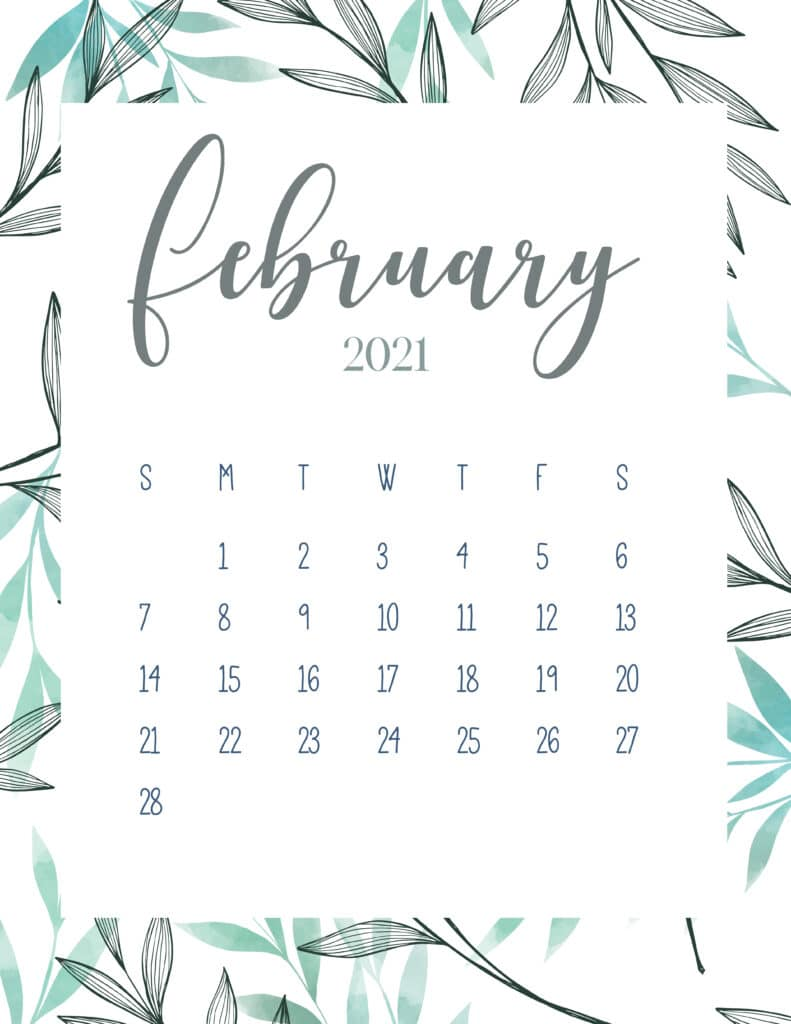 Free Printable February 2021 Botanical Calendar