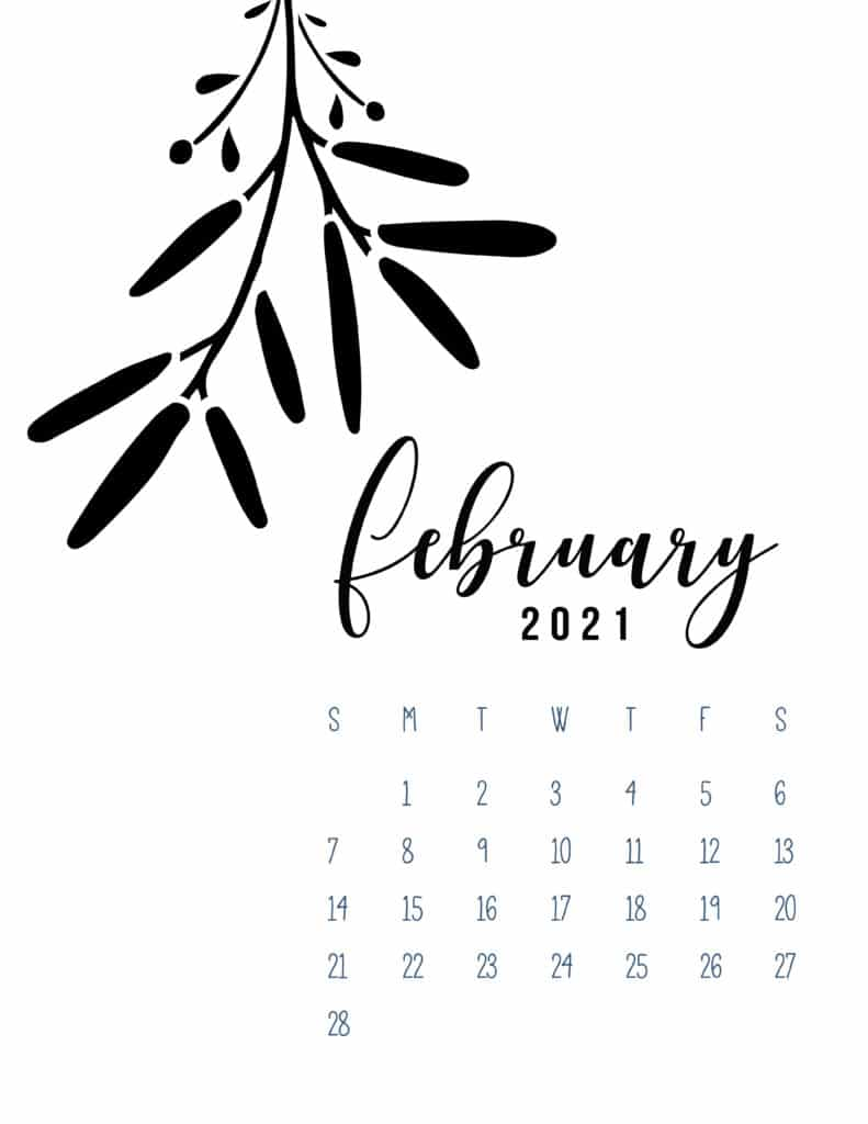 Free Printable February 2021 Calendar Botanical