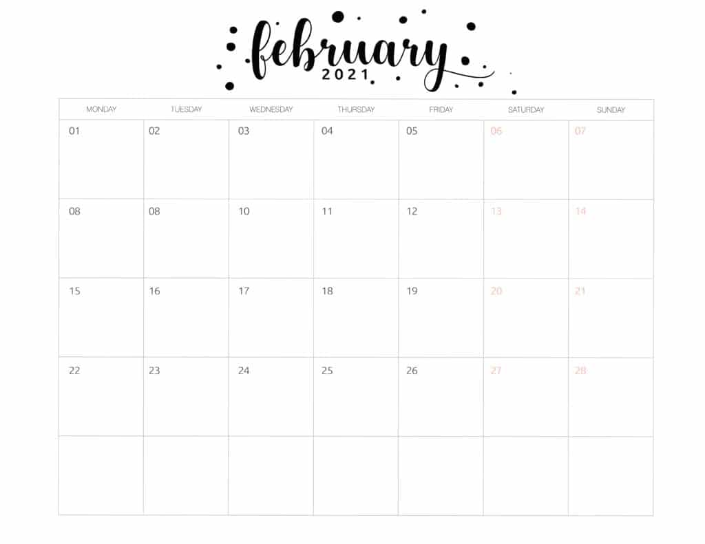 Free Printable February 2021 Calendar Brush Art